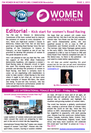 FIM Women in Motorcycling Commission Newsletter - 2013