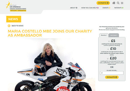 Air Ambulance - Maria joins as Charity Ambassador