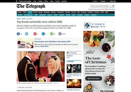 Telegraph - Maria Collects MBE